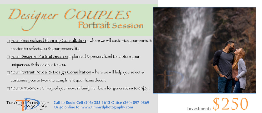 Timothy Dehnert Photography's Designer Couples Session Cards with pricing and details.